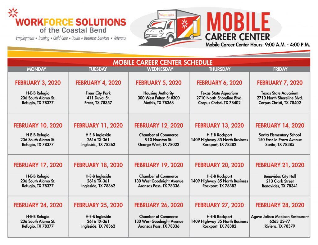 February Mobile Career Center Calendar 2020