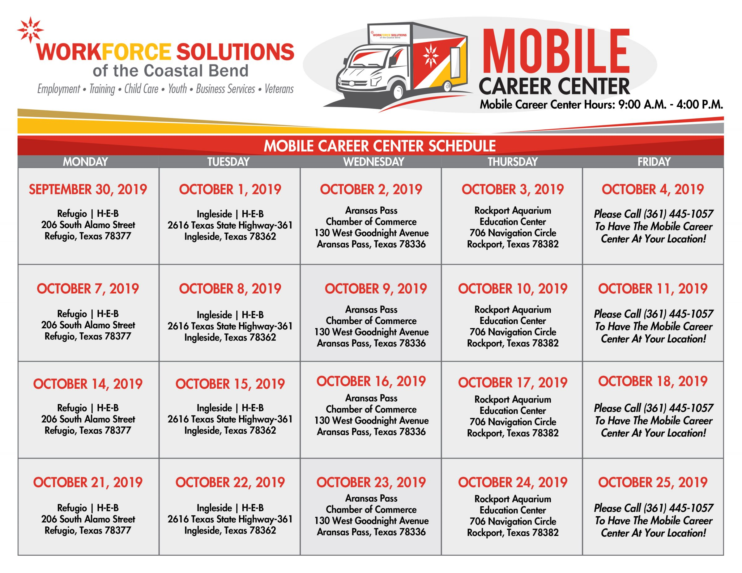 October Mobile Career Center Calendar