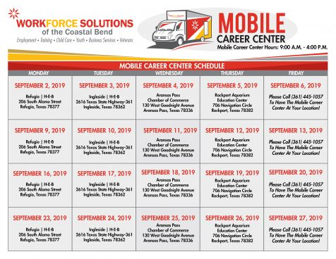 Mobile Career Center Calendar - Mondays at the H-E-B in Refugio, 206 South Alamo Street. Tuesdays at the H-E-B in Ingleside, 2616 Texas State Highway-361. Wednesdays at the Chamber of Commerce, 130 West Goodnight Avenue. Thursdays at Rockport Aquarium Education Center, 706 Navigation Circle