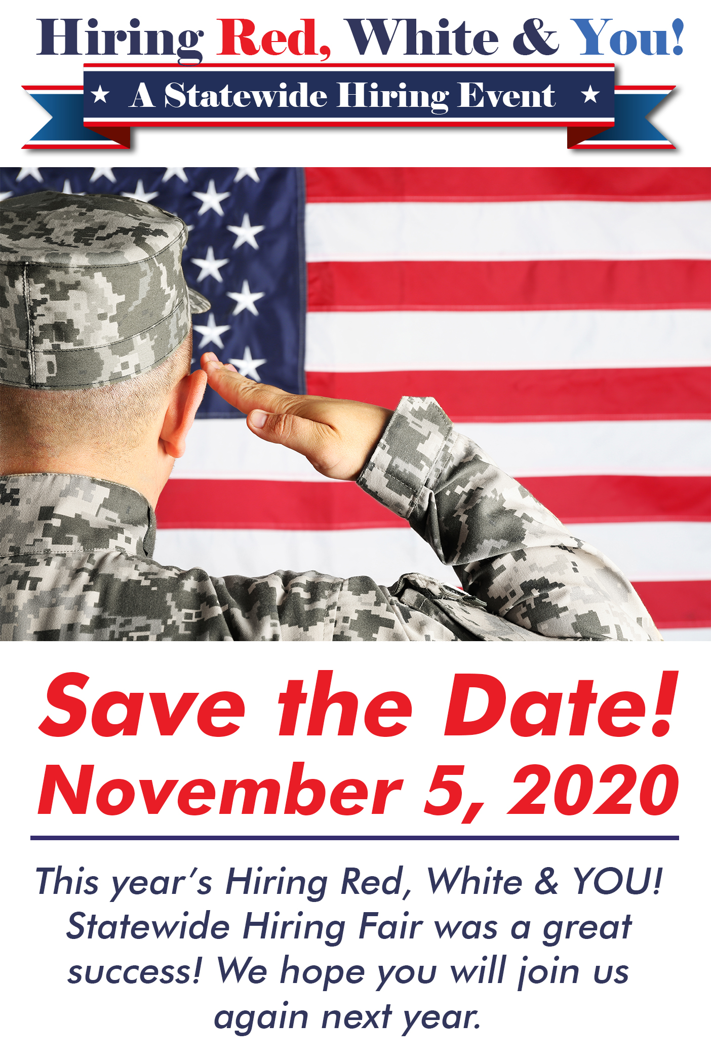Employer Registration for Hiring Red, White & You! on November 7, 2019, from 9:00 AM - 2:00 PM at the American Bank Center