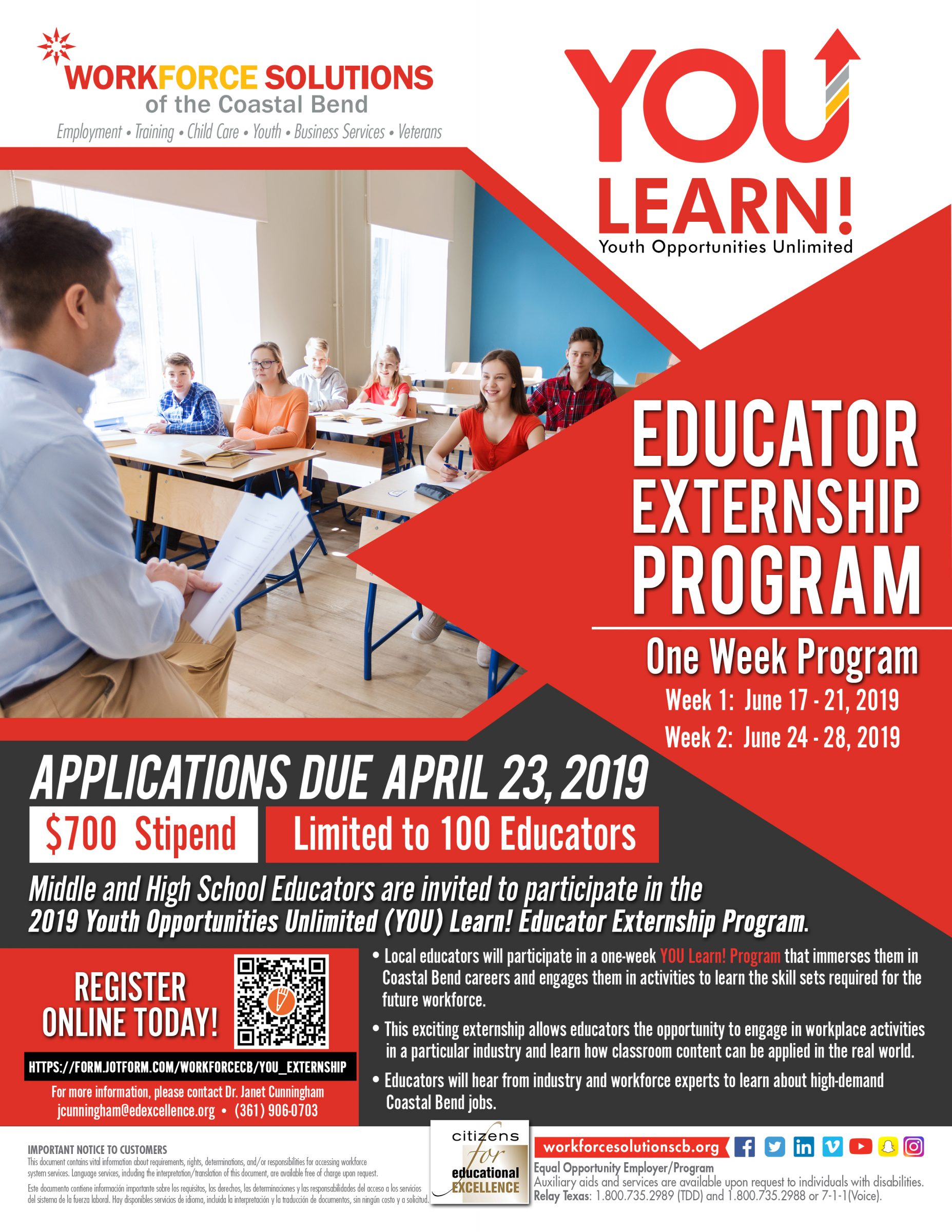 YOU! Learn Educator Externship Flyer