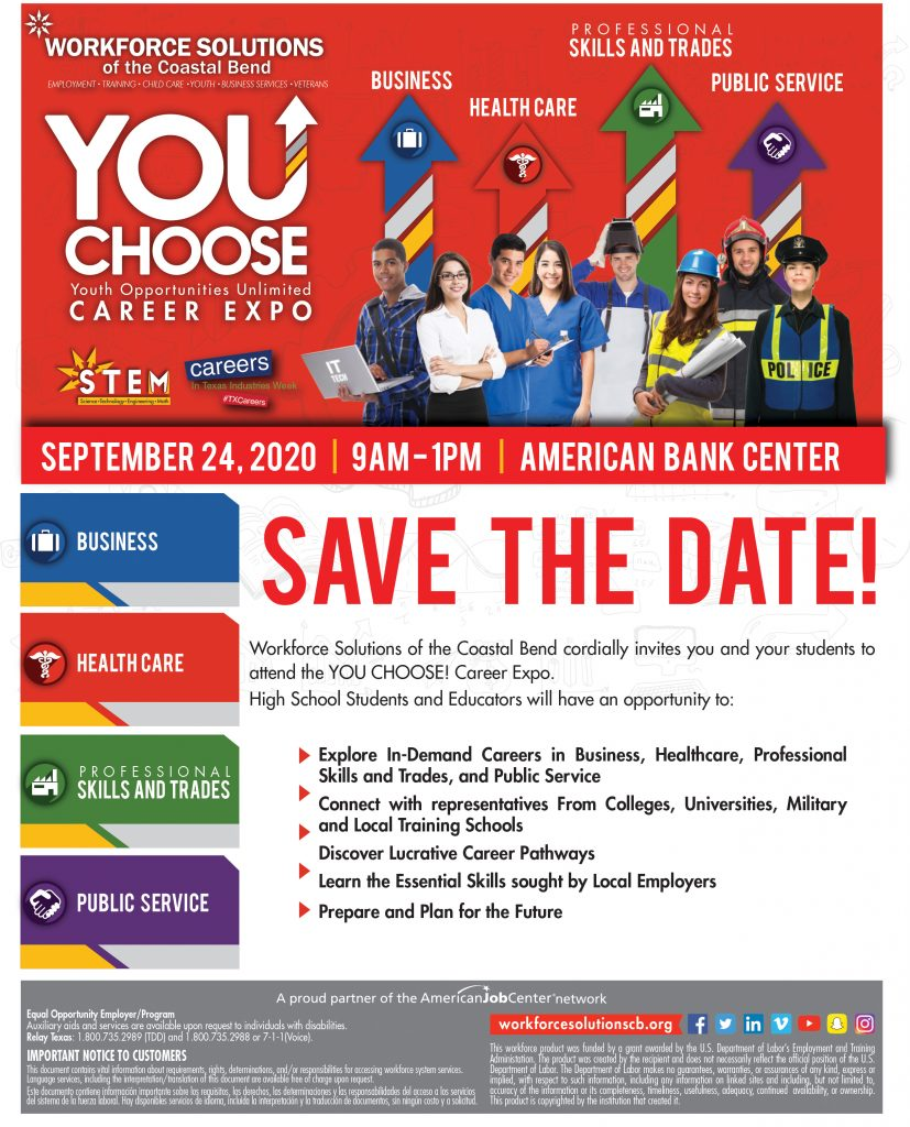 YOU Choose Career Expo! Save the Date, September 24, 2020, 9am - 1pm