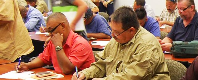 Job seekers in an orientation