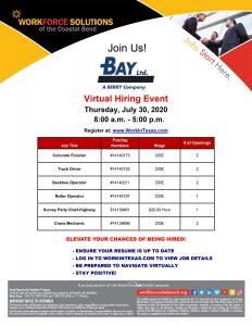 Bay Ltd. Virtual Hiring Event - Thursday, July 30, 2020 - Register at www.workinTexas.com