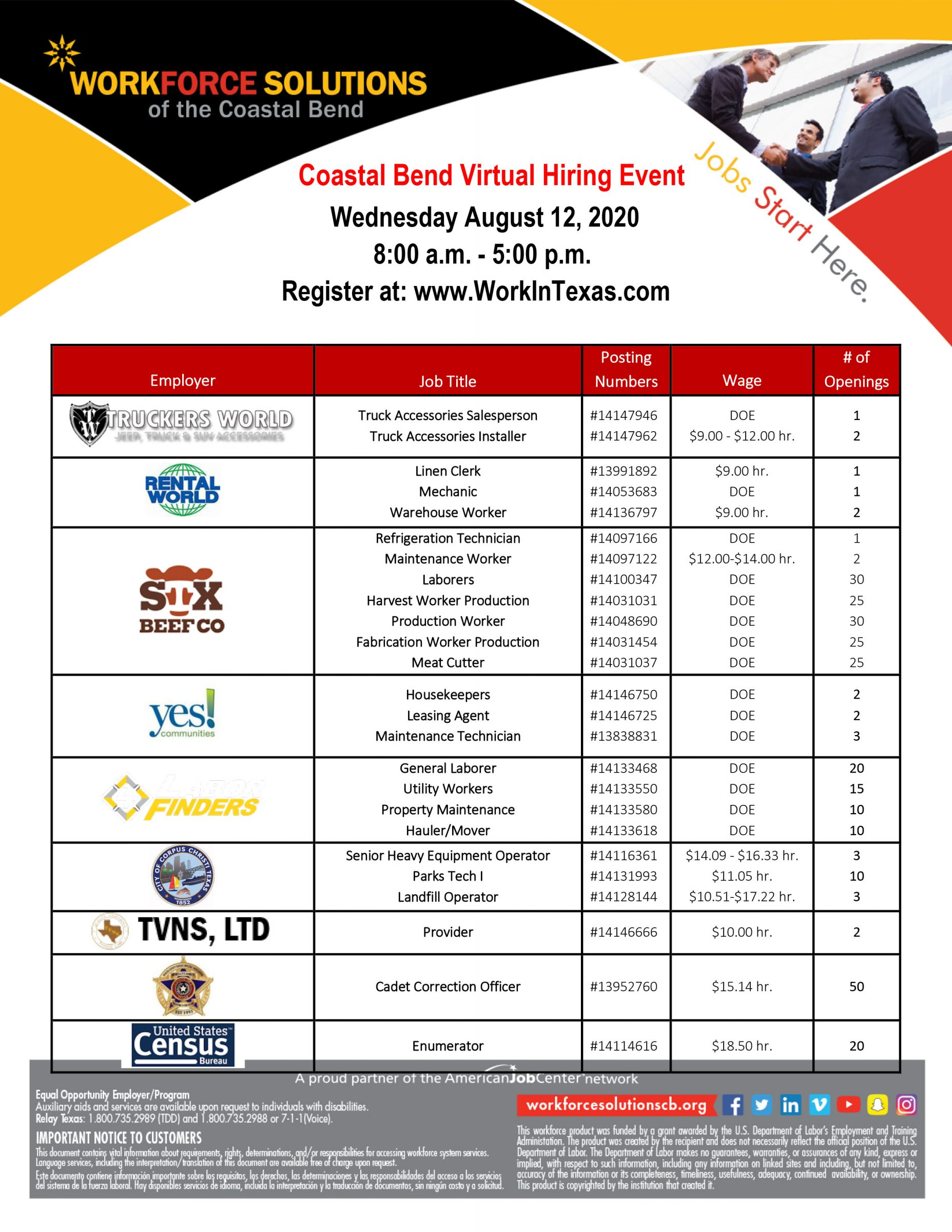 Register at workintexas.com for the Coastal bend Virtual Hiring Event on Wednesday, April 12, 2020, 8:00 A.M. - 5:00 P.M.