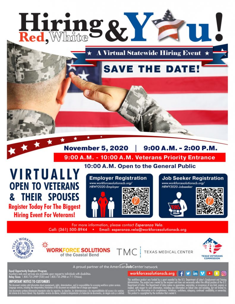 Hiring Red, White, and YOU! A Virtual Statewide Hiring Event, November 5th from 9am - 2pm. Veterans and their spouses Receive Priority Entrance from 9am - 10am. Open to the general public 10am - 2pm. Click Below to register.